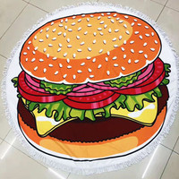 Fun Printed Cheeseburger Hamburger Large Round Beach Towel Blanket with Fringe Detail