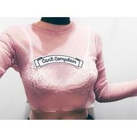 The Ragged Priest Glitter Mesh Long Sleeve Crop at asos.com