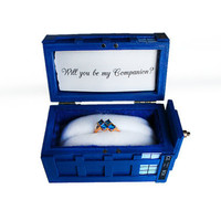 Miniature Doctor Who Tardis Engagement Ring Box