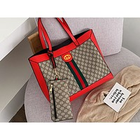 LV x GUCCI hot seller printed patchwork color two-piece single-shoulder bag hot seller casual lady shopping bag #5