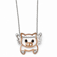 Sterling Silver Rose-gold Plated CZ Flying Pig 18 Necklace