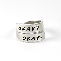 OKAY? OKAY. Twisrt Wrap Ring, The Fault In Our Stars Inspired Ring, Hand Stamped Aluminum Ring, TFIOS Ring, Cloud Inside Spiral Ring