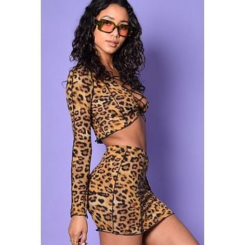 Wild Things Leopard 2-Piece Lace Up Set