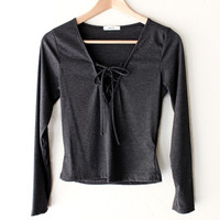 Lace Up Knit Top - Charcoal