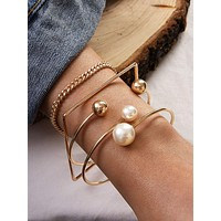 4pcs Faux Pearl & Geometric Decor Bracelet