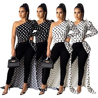 fhotwinter19 Hot sale women's sexy fashion single-sleeve irregular polka dot print jacket top