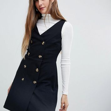 New Look Double Breasted Pinny Dress at asos.com