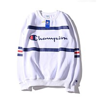 Champion Autumn Winter Classic Stripe Long Sleeve Velvet Sweater Sweatshirt White