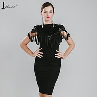 MISS ORD 2016 Sexy high neck tassel sequin dress FT4776