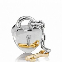 PANDORA Charm - Sterling Silver & 14K Gold Key To My Heart | Bloomingdale's