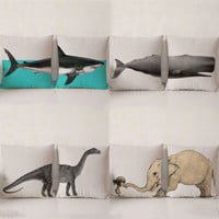 Large Marine and Terrestrial Animal Creative Throw Pillowcase Cotton Linen Chair Seat Waist Square Pattern Cushion Cover Pillows