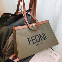 Fendi FF fashion denim large-capacity letters single shoulder messenger ladies bag