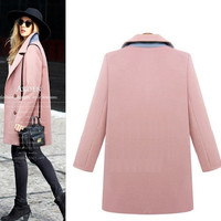 Casual Lapel Collar Double Button Woolen Coat