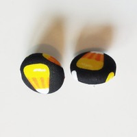 Candy Corn Fabric Button Earrings Womens Fashion Accessories Halloween Accessories Halloween Fabric Post Earrings Fabric Studs