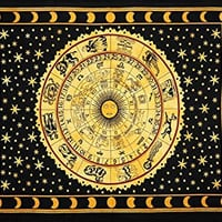 Yellow Zodiac Horoscope Tapestry, Indian Astrology Hippie Wall Hanging, Divine Ethnic Decorative Gift Art, Sun Moon Celtic Zodiac Tapestry
