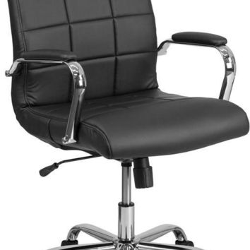 Mid-Back Black Vinyl Executive Swivel Office Chair with Chrome Arms