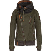 Fashion hooded oblique zipper long - sleeved thick hoodie sweater coat female Green