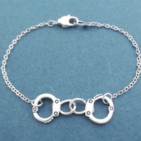 Handcuffs, Silver, Bracelet, Modern, Dainty, Jewelry, Birthday, Lovers, Best friends, Christmas, New year, Gift, Jewelry