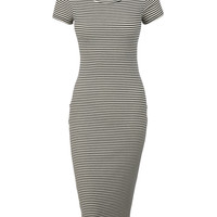 Womens Fitted Short Sleeve Black White Striped Bodycon Midi Dress with Stretch