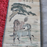 Chinese Vintage Scroll Painting with Horses