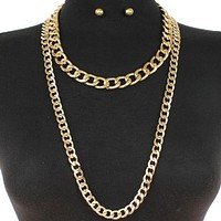 """18""""  33"""" gold multi layered chain necklace .50"""" earrings 2 separate necklaces"""