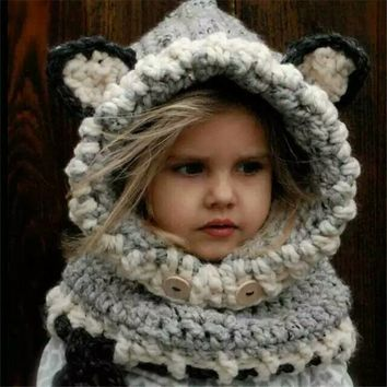 Chunky Crochet Grey Wolf Hooded Child's Scarf