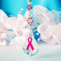 Rear View Mirror Car Charm Pink Ribbon Cancer Awareness Car Accessories