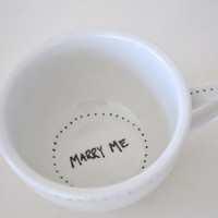 Recycled Tea Service: A Proposal - Engagement Set, Newlywed Set, Wedding Gift - Proposal Mug, Acceptance Mug, His, Hers, Theirs