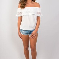 Lovin' Lace Off-The-Shoulder Top - White
