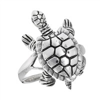 Sterling Silver Turtle Ring with Moving Head, Legs, and Tail
