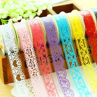 G39 5X Elegant Candy Lace Adhesive Masking Tape Washi Tape Decorative Scrapbooking DIY Craft Decor School Stationery