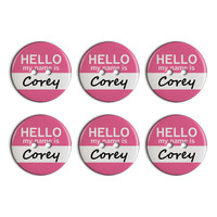 Corey Hello My Name Is Plastic Resin Button Set of 6