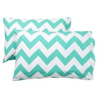 Chevron Pillowcases, Set of 2, Pool