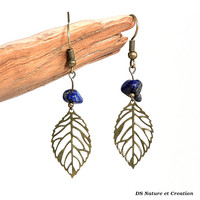 Folk romantic earrings, lapis lazuli jewelry, leaf filigree earrings, romantic folk jewelry, lapis lazuli earring leaf filigree jewelry wila