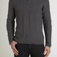 V Neck Cable Front Sweater
