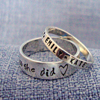 Hand Stamped Sterling Silver Stacking Rings THICK Band ONE Ring