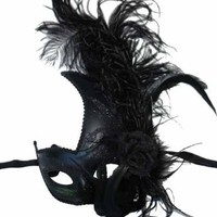 Womens Venetian Masquerade Black Mask with Feather, flower, and Glitter