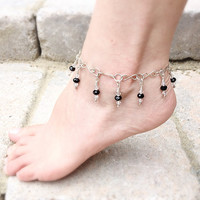 Silver Anklet, Sterling Charm Anklet, Summer Jewelry, Black Crystal Glass
