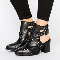 ASOS ROCKY Wide Fit Leather Studded Cut Out Ankle Boots at asos.com