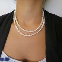 Your wedding jewelry, Multi strand Pearl, Layered Pearl necklace, Multistrand Pearl necklace, Freshwater Pearl necklace, Pearl crystal