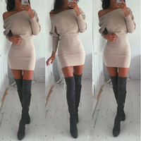 Bodycon Boat Neck Long Sleeves Short Dress
