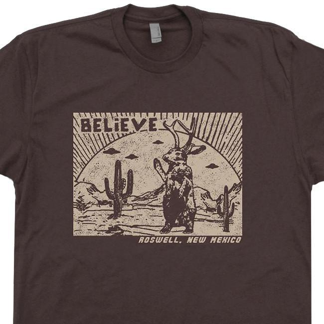 Image of Roswell Jackalope T Shirt New Mexico Shirt UFO T Shirt Vintage Science Fiction Tee