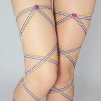 Rainbow Leg Wraps Pair FREE SHIPPING for Raves, Festivals, Cosplay, Halloween, and more! Great with Fluffies