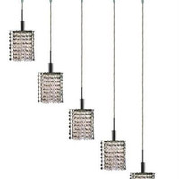 Wiatt - Hanging Fixture Oblong Canopy with Star Pendant (5 Light Contemporary Crystal Pendant) - 1093D-O-P
