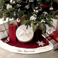 Velvet Tree Skirt, Red with Ivory Cuff