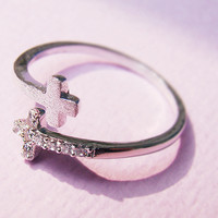 Women's Teen's Sideways Double Cross Ring with Crystal Silver Rhodium Plated Size Adjustable RC02