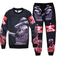Michael Jordan Collage Printed Streetwear Sweatshirt & Sweatpants Mens Womens Tracksuit Set Track Suit Jogger Set