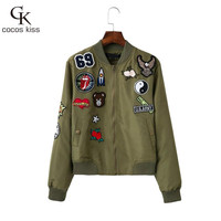 FLOWER Animal and geometry pattern Embroidery Bomber Jacket women coats New fashion casual Army green jacket