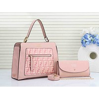 FENDI Newest Popular Women Shopping Bag Leather Tote Handbag Crossbody Satchel Set Two-Piece(6-Color) Pink I-RF-PJ