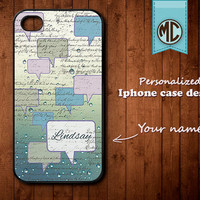 Personalized iPhone Case - Plastic or Silicone Rubber Monogram iPhone 4 4S Case Cover - K012